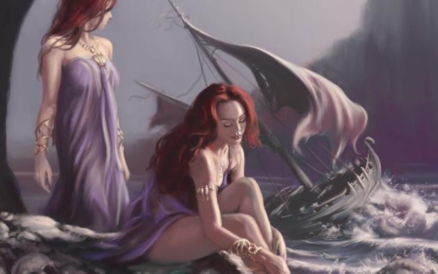 mermaid, redhead, rocks, storm