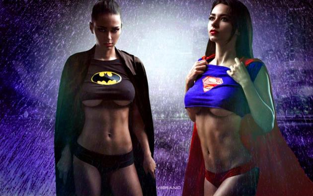 badgirl, supergirl, shiny clothes, brunette, boobs, superman, batgirl, underboob, cosplay, batman