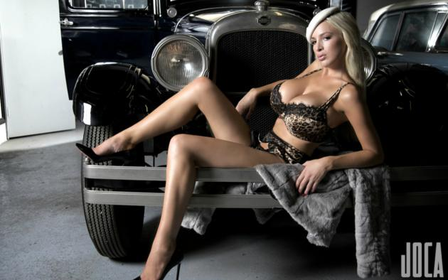 jordan carver, boobs, heels, hat, classic car, lingerie, sexy, coat, garage, legs, model, babe, cleavage, sexy legs, car, erotic, lingerie series