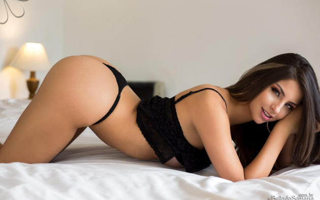 sexy, beatriz aguiar, cute, latina, bella club, ass, brunette, panties, black panties, lingerie, bed