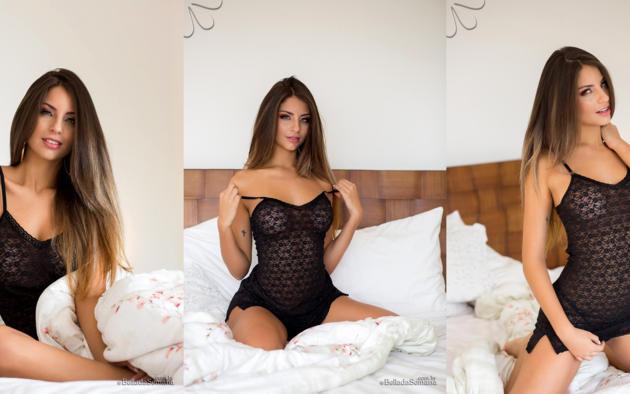 sexy, beatriz aguiar, cute, latina, bella club, bed, brunette, collage, lingerie