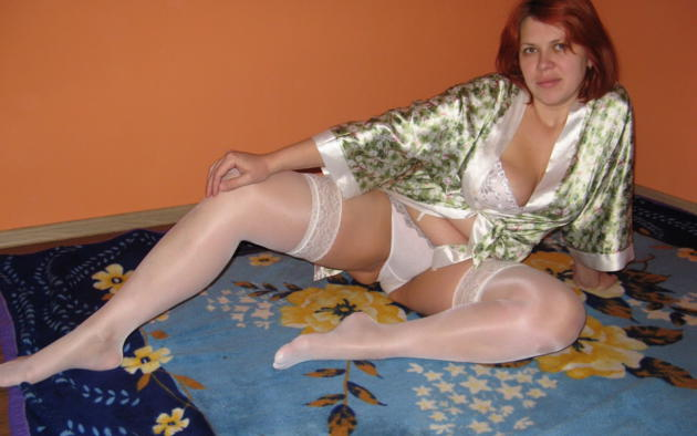 Mature white stockings
