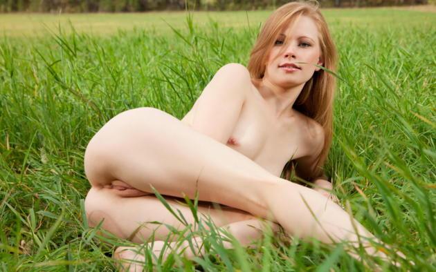 annet a, long hair, ass, pussy, redhead, labia, tits, grass, legs, anett a