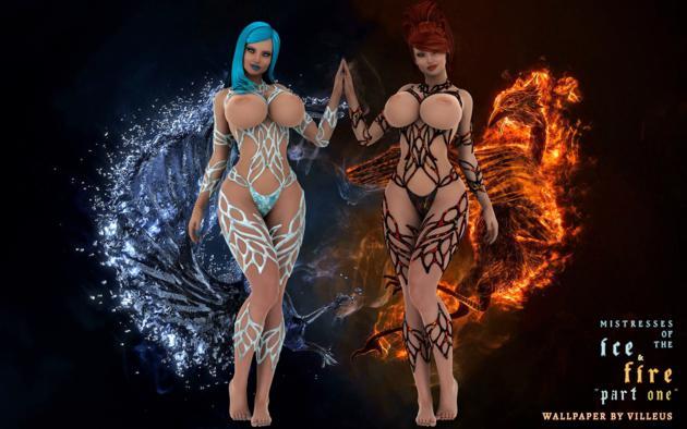 Wallpaper Fantasy Art 3d Ice Fire Girls 3d Art Big