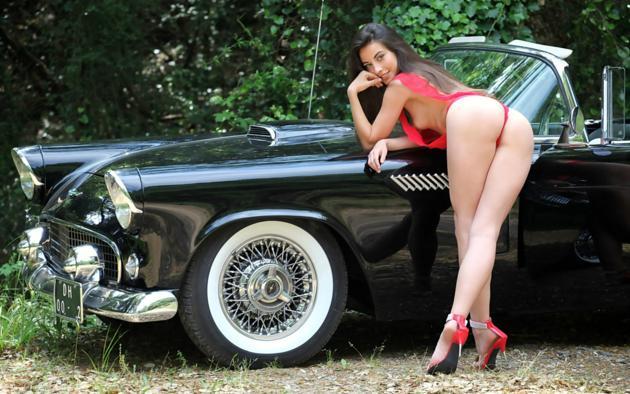 lorena garcia, lorena, lorena b, brunette, semi nude, car, thunderbird, ass, tits, high heels, smile, ford