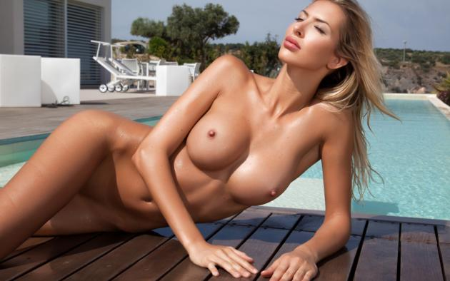 claudia, sexy, beauty, model, girl, tits, naked, pool, wet, close up, oiled, tanned, fake boobs, boobs, big tits, hard nipples