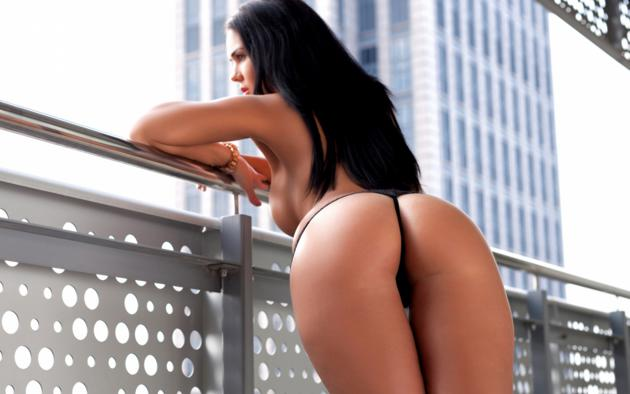 kendra, black hair, model, sexy, ass, tits, sexy ass, close up, railing, thong