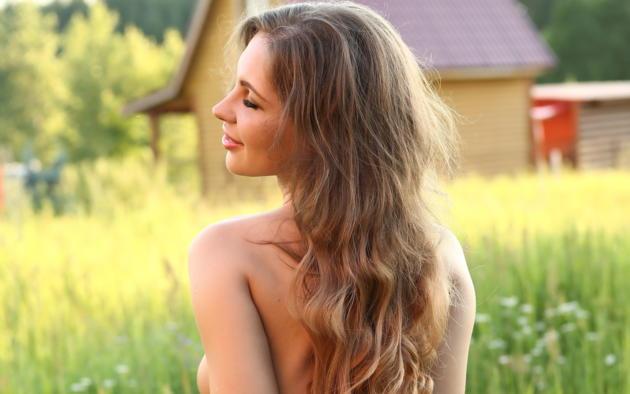galina a, long hair, beautiful, brunette, smile, grass, back