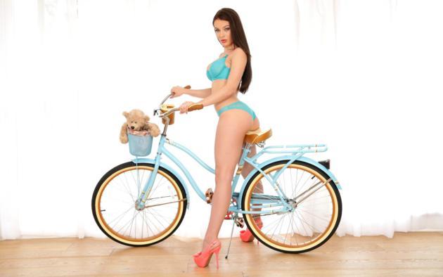 lingerie, long hair, heels, bicycle, bear, sexy, blue, model, lana rhoades, blue lingerie, blue panties, blue bra, brunette