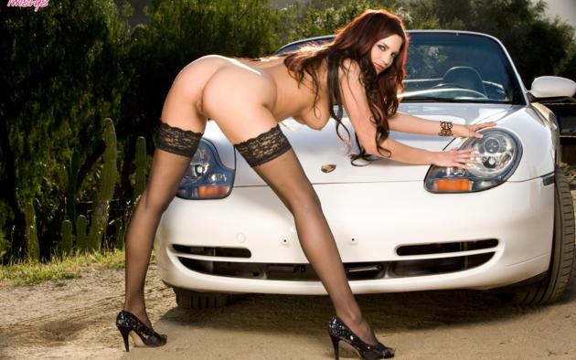 nude, erotic, boobs, porsche, brunette, porsche boxster, stockings, black stockings, ass, tits, big tits, long legs, labia, pussy, heels, sexy, jayden cole