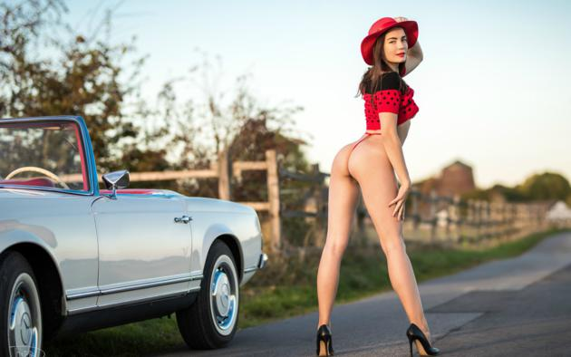 model, brunette, car, convertible, thong, ass, hat, high heels, sexy, hi-q, mercedes-benz, mercedes