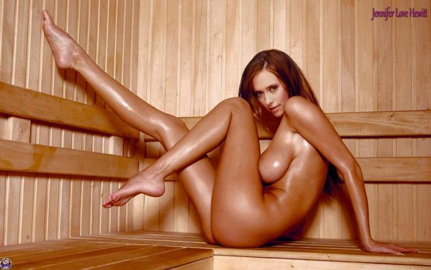 jennifer love hewitt, sauna, wet, big tits, boobs, big naturals, legs up, feet, redhead, long hair, fake