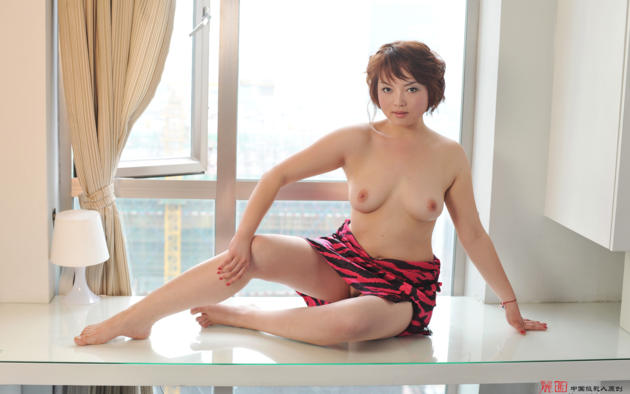 fei fei, asian, nipples, window, tits, trimmed pussy
