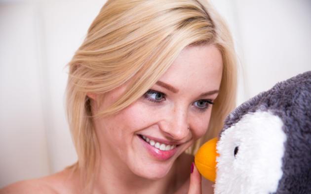 zazie, lovely, blonde, stuffed penguin, blue eyes, face, smile