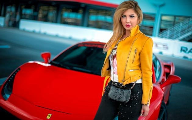 chica, girl, sexy, car, red lips, non nude, ferrari