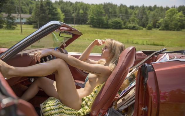 jordy murray, blonde, car, convertible, naked, boobs, tits