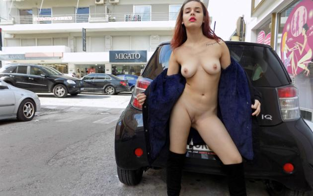 soti a, brunette, cars, flashing, naked, boobs, tits, nipples, shaved pussy, labia, tattoo, boots, hi-q