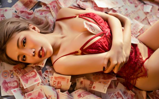 huang le ran, asian, sexy, lingerie, red lips, money, red lingerie