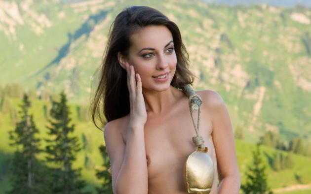 lorena garcia, alps, cowbells, nude, gorgeous, small tits, tits, tanned, smile, brunette, mountains