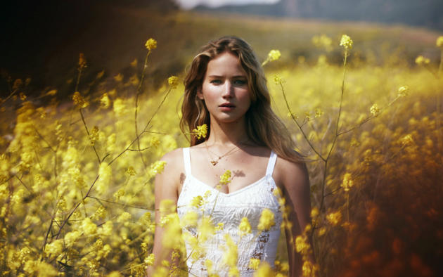 jennifer lawrence, marie claire, white dress, field