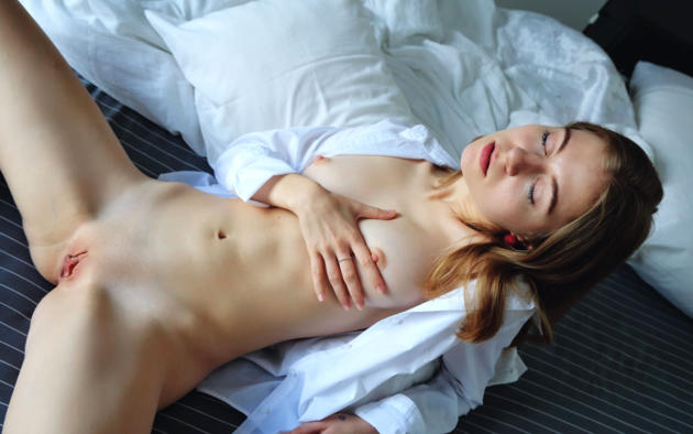 melody y, chloe, shayla, anya mozok, anna a, melodi, melody, model, pretty, closed eyes, shirt, tits, hard nipples, pussy, shaved pussy, labia, bed, bedroom, nude, pillows