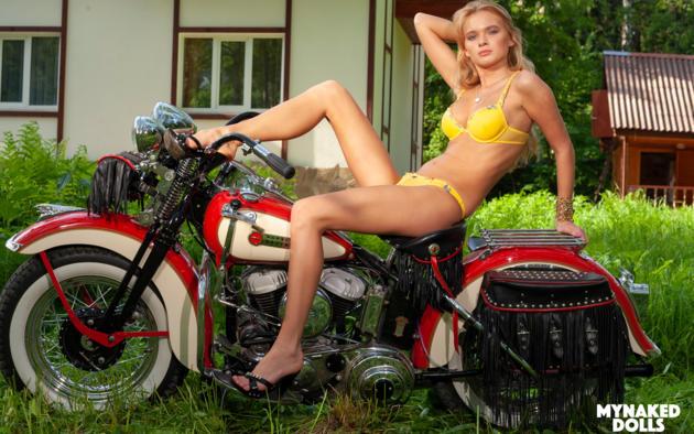 Yaroslava, Blonde, Harley Davidson, Motorcycle, Bra, Panties,