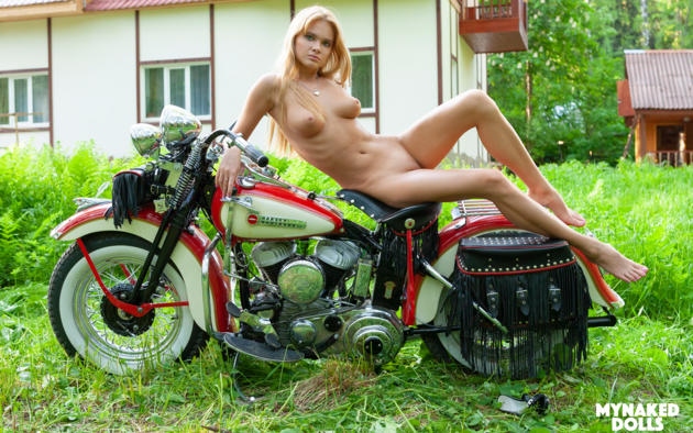 Yaroslava, Blonde, Harley Davidson, Motorcycle, Naked, Boobs,