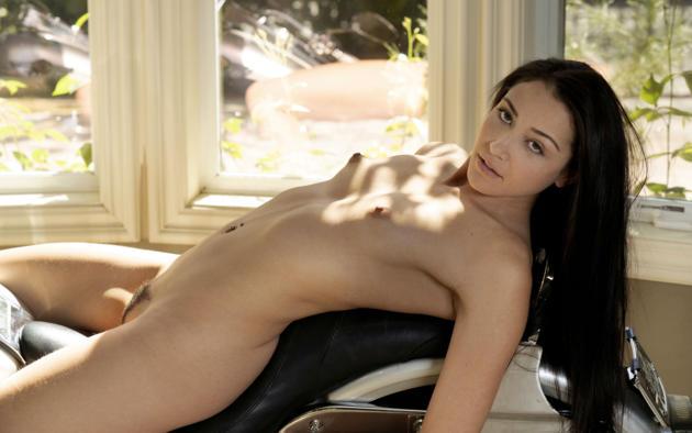 Avi Love, Brunette, Harley Davidson, Motorcycle, Naked, Boobs,