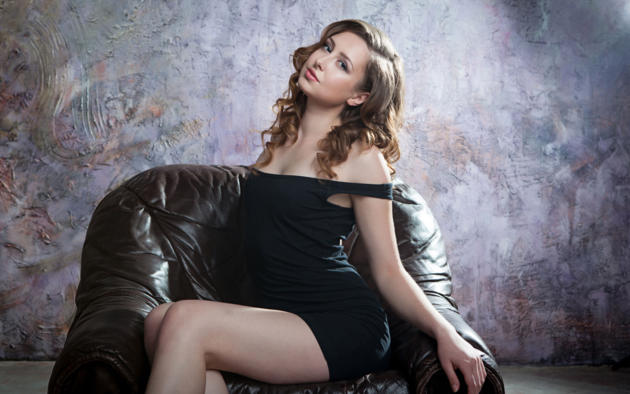 Ginger Frost, Non Nude, Dress, Armchair, Curly Hair, Black Dress