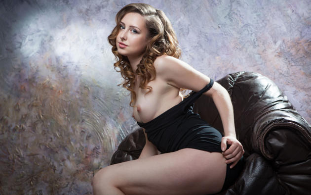 Ginger Frost, Boobs, Curly Hair, Undressing, Black Dress, Tits,