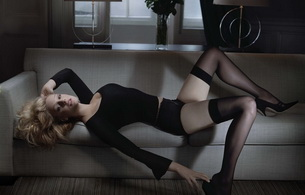 romola garai, actress, model, sofa, stockings, sensual, heels, laying, backwards, posing, sofa, black, heels, legs, sexy dressed, personality, hi-q, celebrity, black lingerie