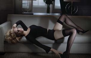romola garai, actress, model, sofa, stockings, sensual, heels, laying, backwards, posing, sofa, black, heels, legs, sexy dressed, personality, hi-q, celebrity, black lingerie, lingerie series