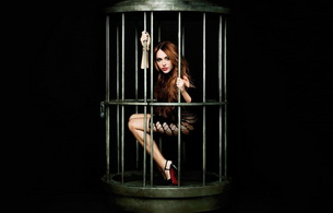 lingerie, girl in cage, cage, miley cyrus, heels, singer, celebrity, long hair, misty, widescreen cut