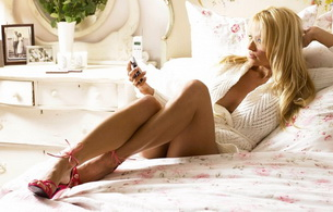 blonde, phone, bed, bed, beautiful female legs, sweater, long hair, heels, high heels, feet, pamela anderson, gorgeous, brads girl
