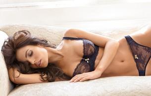 lingerie, sofa, brunette