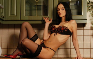 brunette, kitchen, lingerie, stockings, katie fey, eugenia diordiychuk, jenya d, heels, yevgeniya diordiychuk, playboy, playmate of the year, high heels