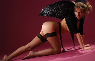 blonde, ass, black angel, lingerie, stockings, angel, doggy