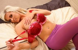 blonde, piercing, lingerie