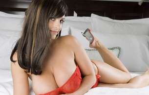 brunette, bed, lingerie, big boobs, big titts, denise milani, lying, hot, sexy, big tits, large boobs, large titis