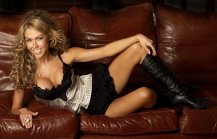 adele silva, sofa, actress, boots, knee boots, leather, lingerie, celebrity, smile, babes in boots