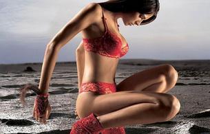 brunette, red, lingerie, sexy, jennifer lamiraqui