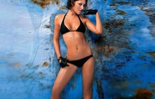 brunette, gloves, lingerie, emma willis, model, bikini, wet