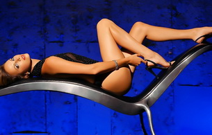 brunette, chair, lingerie, heels, sexy, lying