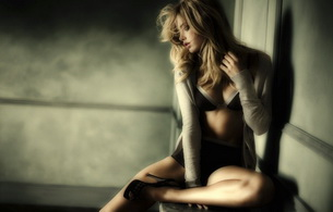 lingerie, blonde, doutzen kroes, heels, long hair, model