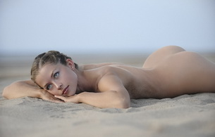 sand, ass, nude, blonde, beach, naked, eyes, babe, beauty, perfect