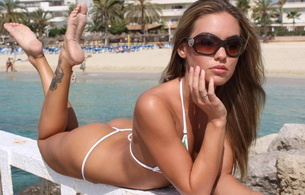 glasses, bikini, tattoo, veronica fasterova, veronika fasterova, beautiful female legs, butt, g-string, verunka, feet, thong, lips, sexy, hot, yummy