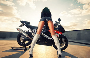 bike, brunette, ass, suzuki, ass shot, shiny, hot ass, high boots