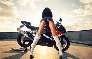 bike, brunette, ass, suzuki, ass shot, shiny, hot ass, high boots