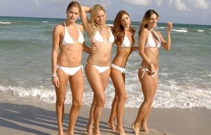 bikini, blonde, water, sea, beach, alessandra ambrosio, model, miranda kerr, doutzen kroes, karolina kurkova, four, camel toe