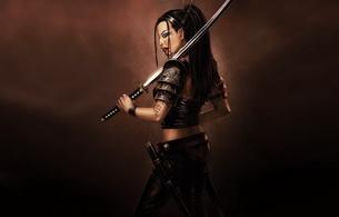 fantasy, brunette, sword